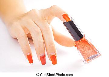 demande, isolé, clou, polish., manicure., rouges