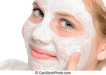 demande, masque, jeune, nettoyage, facial, fille souriante