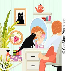 demande, ou, femme dame, vanité, journalier, maquillage, intérieur, asseoir, table, assaisonnement, miroir, ritual., pulvériser salle, maison, beau, skincare