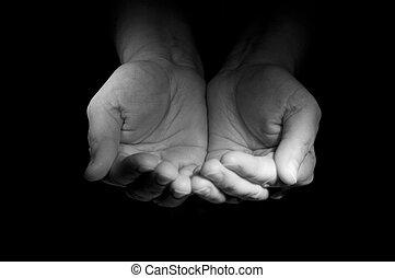 demander, charité, foto, mains, watcher