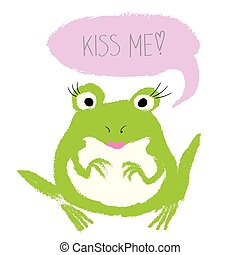 demander, dessin animé, baiser, grenouille