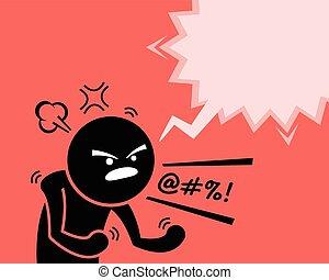 demander, homme, fâché, sien, mécontentement, très, rage, colère, why., exprimer