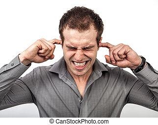 demasiado, barulho, conceito, -, homem, orelhas covering, dedos