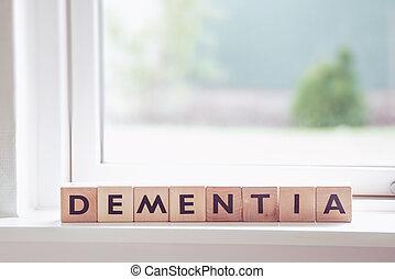 demencia, señal, en, un, ventana