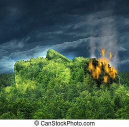 demente mens, en, verliezen, geheugen, en, ziekte van alzheimer, met, de, medisch, pictogram, van, een, bos, berg, van, bomen, in, de, vorm, van, een, menselijk hoofd, en, hersenen, burning, in, vlammen, als, een, verlies, in, beschadigd, gedachten, en, verstand