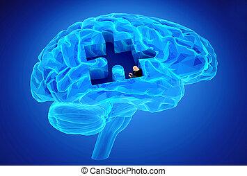 demente mens, ziekte, en, een, verlies, van, hersenen,...