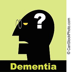 Dementia. Alzheimer - Head and question mark. Mental health...