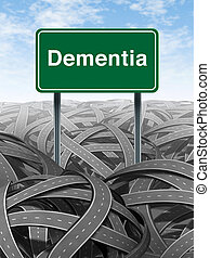 Dementia and alzheimer Disease medical concept with a green highway road sign with text refering to memory loss and human brain problems with tangled roads and twisted streets a symbol of confusion.