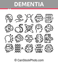 Dementia Brain Disease Collection Icons Set Vector