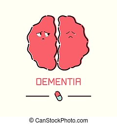 Dementia cartoon poster - Dementia disease poster. Cute...