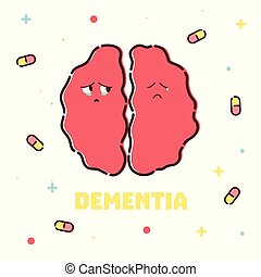 Dementia cartoon poster - Dementia disease poster with pills...