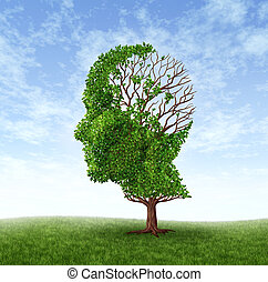 Dementia Concept - Dementia concept of memory loss due to...