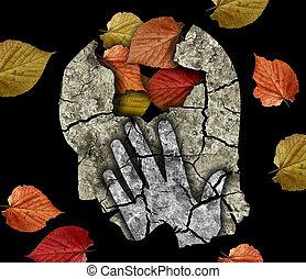 Dementia depression old age. - Stylized male head silhouette...