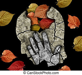 Stylized male head silhouette holding his head. Photo-montage with Dry cracked earth and autumn leaves symbolizing Depression, old age, dementia.