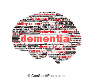 Dementia message design isolated on white background. Mental...