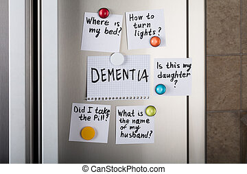 Dementia Notes Attached To Refrigerator