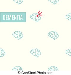 Dementia pattern poster. Medical pattern of healthy brains...