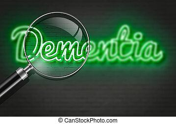 DEMENTIA - writing words ' DEMENTIA ' on bricks background...