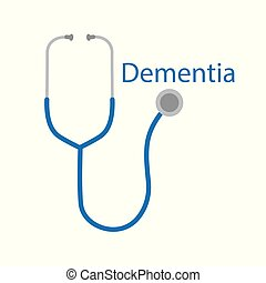dementia word and stethoscope icon- vector illustration
