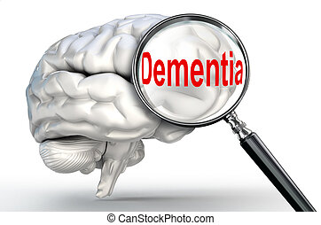 dementia word on magnifying glass and human brain