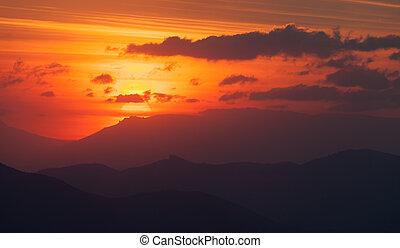 demerdzhi, tramonto, montagne., sud, pietre