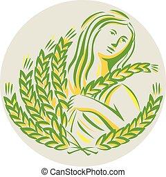 Demeter Harvest Wheat Grain Circle Retro