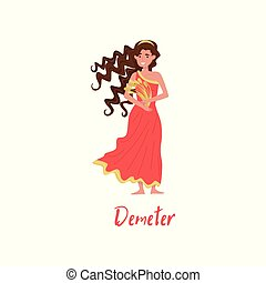 Demeter Olympian Greek Goddes, ancient Greece myths cartoon character vector Illustration on a white background