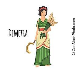 Demetra, goddess of Agriculture. Mythology. Flat vector illustration. Isolated on white background.