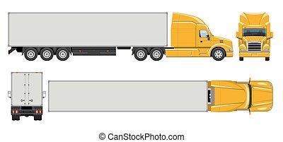 demi-camion, caravane, vue, réaliste, côté, sommet, vecteur, dos, illustration, devant