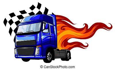 demi-camion, vecteur, caravane, dessin animé, illustration