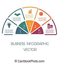 demi-cercle, lignes, infographic, cinq, positions