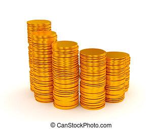 demi-cercle, pièces, piles, growth:, forme
