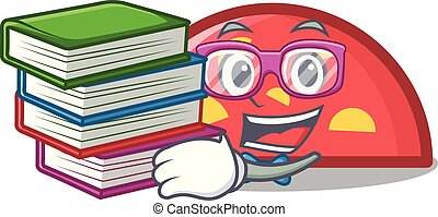 demi-cercle, style, livre, étudiant, dessin animé, mascotte