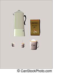 demi tasse cups with european coffee maker and bag of beans