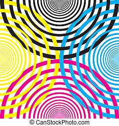 demicircles, amarela, cmyk, outro, pretas, cada, mage3nta,...