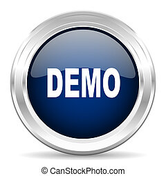 demo cirle glossy dark blue web icon on white background