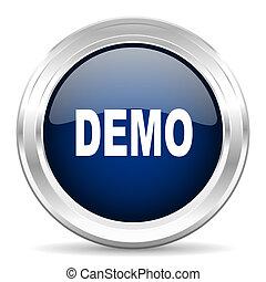 demo cirle glossy dark blue web icon on white background