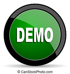 demo green web glossy icon with shadow on white background