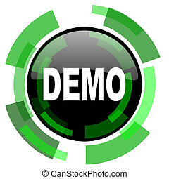 demo icon, green modern design isolated button, web and mobile app design illustration