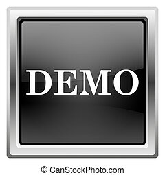 Demo icon - Metallic icon with white design on black...