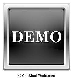 Demo icon - Metallic icon with white design on black ...