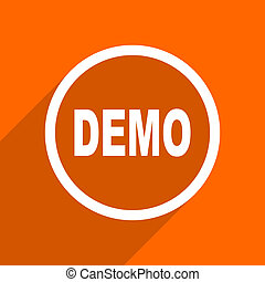 demo icon. Orange flat button. Web and mobile app design illustration