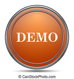 Demo icon. Orange internet button on white background.