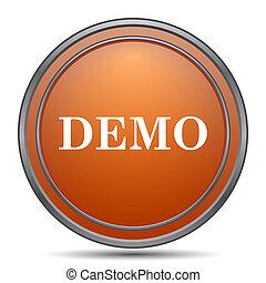 Demo icon. Orange internet button on white background.