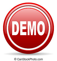 demo red glossy icon on white background - red glossy circle...