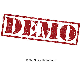 Demo stamp - Demo grunge rubber stamp on white