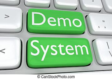 Demo System concept - 3D illustration of computer keyboard ...