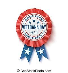 demobilizovaný voják den, badge., realistický, vlastenecký, udělit, ribbon.