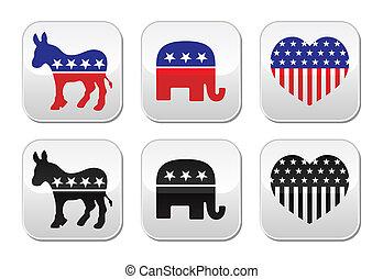 democ, partidos, político, eua, button: