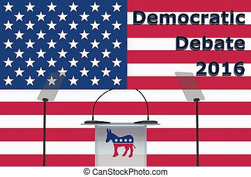 democrático, debate, 2016